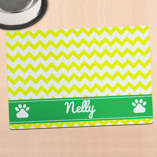 Yellow Chevron Personalised Pet Meal Mat