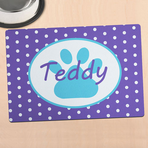 Lavender Polka Dot Personalised Paw Meal Mat