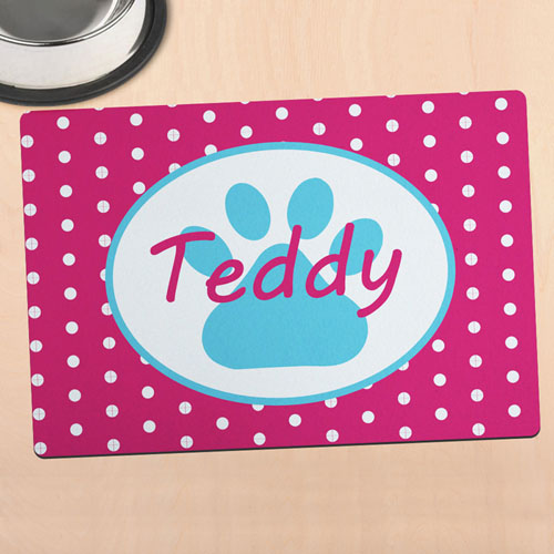 Hot Pink Polka Dot Personalised Paw Meal Mat