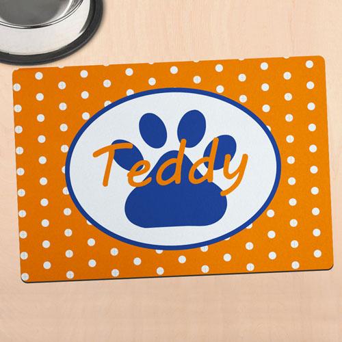 Orange Polka Dot Personalised Paw Meal Mat