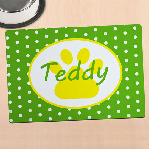 Green Polka Dot Personalised Paw Meal Mat
