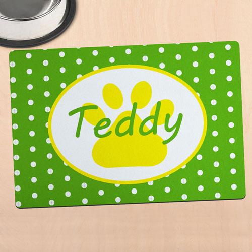 Green Polka Dot Personalised Paw Meal Mat