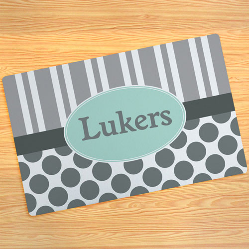 Grey Stripe And Polka Dot Personalised Doormat 17