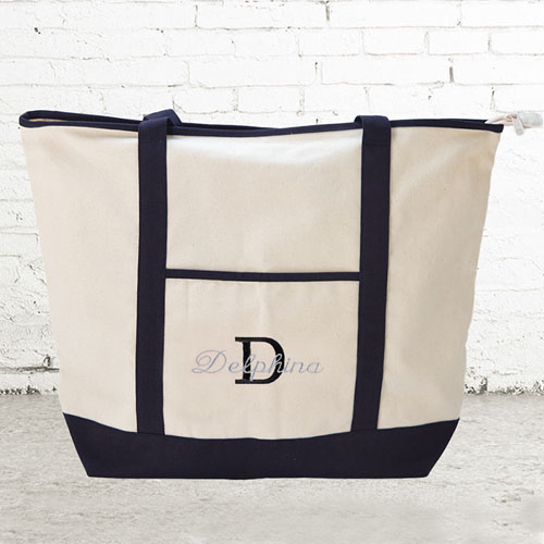 Name & Initial #1 Personalised Black Canvas Tote Bag (Large)