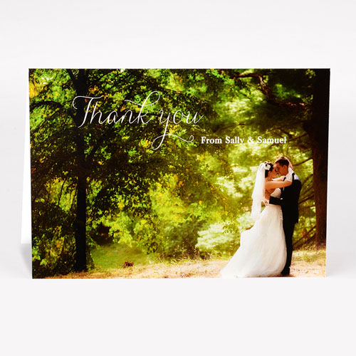 Personalised Script Thank You Photo Card For Wedding
