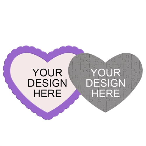 Design Your Own Heart-Shaped Magnetic Puzzle with Purple Frame