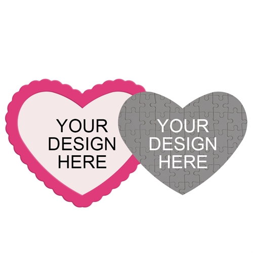 Design Your Own Heart-Shaped Magnetic Puzzle with Hot Pink Frame