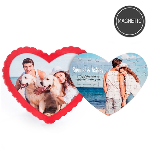 Personalised Photo Heart-Shaped Magnetic Puzzle with Red Frame