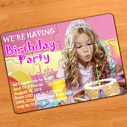 Custom Birthday Party Invitation Puzzle