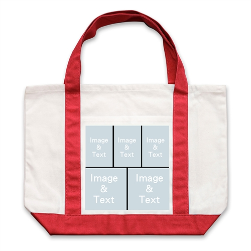 Five Black Collage Red Custom Large Tote Bag