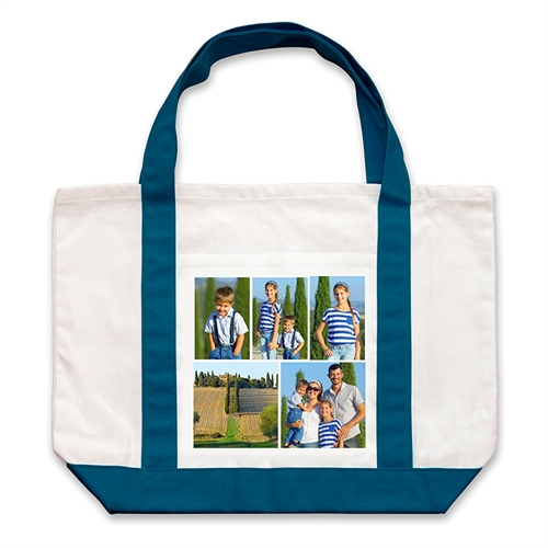 Five Black Collage Navy Custom Large Tote Bag