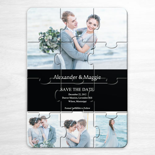 Custom Save The Date Puzzle Invitations, Black 4 Photo Collage Invitation Puzzle