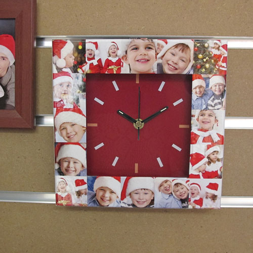 16 Collage Red Face Personalised Clock