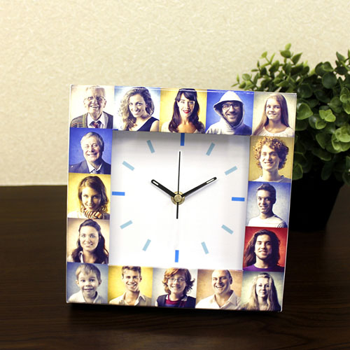 16 Collage White Face Personalised Clock