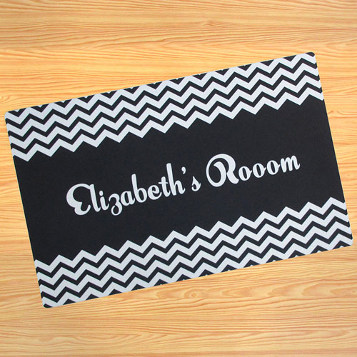 Create Your Own Personalised Black Chevron Door Mat