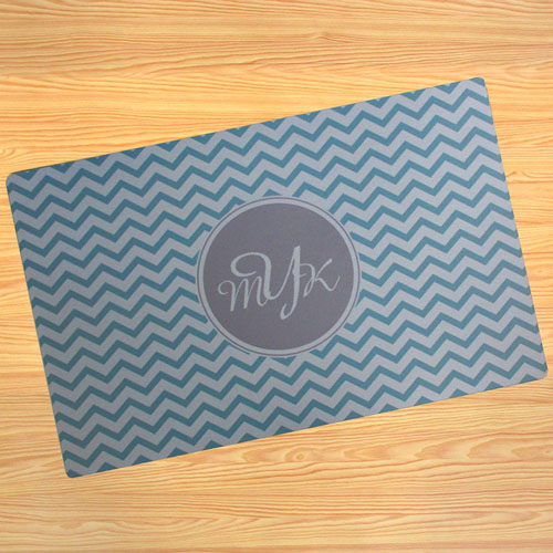 Create Your Own Personalised Aqua Chevron Door Mat