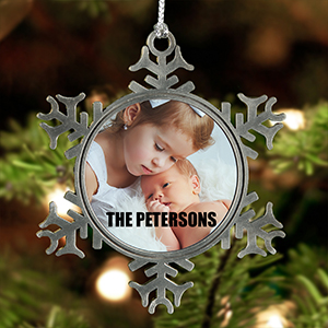New Glass Personalised Christmas Tree Decoration Upload a Photo ~ Gold or Silver